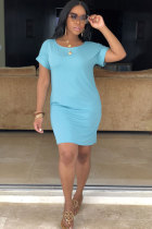 Light Blue Sexy Casual Fashion Cap Sleeve Short Sleeves O neck Straight Knee-Length Solid Pocket Patchwork  Cas