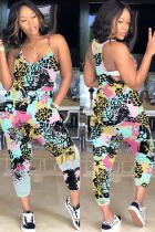 Light Blue Fashion Casual Print Polyester Sleeveless V Neck Jumpsuits