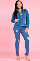 Blue Denim Zipper Fly Sleeveless Mid Hole Patchwork Beading Solid Old pencil Pants  Pants