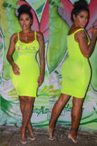 Yellow Polyester Fashion Sexy Spaghetti Strap Sleeveless Slip Sheath Knee-Length Solid Character asymmetric