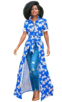 Blue Fashion O-Neck Regular Short Print Long Blouses & Shirts