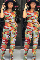 Camouflage Polyester Fashion Sexy Patchwork Print pencil  Two-piece Pants Set