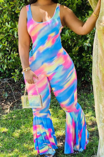 Blue Fashion Casual Print Polyester Sleeveless O Neck Jumpsuits