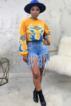 Yellow Polyester O Neck Long Sleeve Letter  Long Sleeve Tops