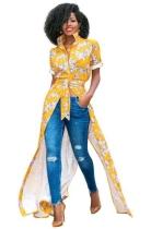 Yellow Fashion O-Neck Regular Short Print Long Blouses & Shirts