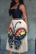 White Black Yellow Polyester Elastic Fly Sleeveless High Patchwork Print Draped Pleated skirt Capris Bottoms