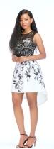As Show Black Cute O-Neck Sleeveless A-Line Print Dresses
