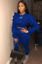Blue Polyester Elastic Fly Long Sleeve High Solid pencil Pants