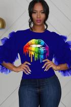 Blue Polyester O Neck Half Sleeve Mesh Lips Print Print  Tees & T-shirts