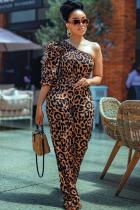 Leopard print street Leopard grain Polyester Half Sleeve one shoulder collar  Jumpsuits