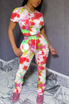 Orange Cotton Fashion Casual Patchwork Print Tie Dye Two Piece Suits pencil Short Sleeve Two Pieces