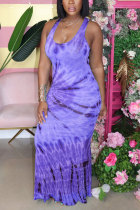 purple Polyester Fashion adult Street Grey Light Blue rose red Light Green purple Off The Shoulder Sleeveless Slip Step Skirt Ankle-Length Print Patchwork Tie and dye Dresses