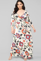 Apricot Polyester Fashion adult Sexy V Neck Floral Print Floral