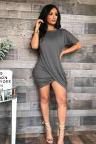 Grey Polyester Casual adult Sexy Fashion Short Sleeves O neck Pleated Mini Solid Draped asymmetrical