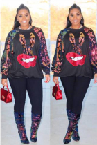 Black Polyester O Neck Long Sleeve Sequin Print Lips Print Patchwork  Tees & T-shirts