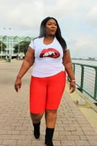 White Cotton O Neck Short Sleeve Lips Print  Tees & T-shirts