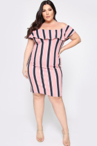 Pink Polyester adult Fashion Sexy One word collar Print Striped