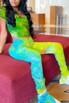 Yellow venetian Fashion Sexy Tie Dye Two Piece Suits pencil Short Sleeve Two Pieces