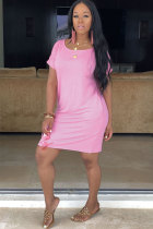 Pink Sexy Casual Fashion Cap Sleeve Short Sleeves O neck Straight Knee-Length Solid Pocket Patchwork  Cas