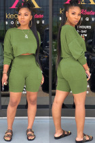 Green Polyester Fashion Street Patchwork Solid Two Piece Suits Straight Long Sleeve Two Pieces