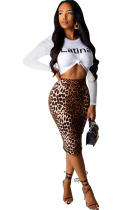 Brown Sexy Two Piece Suits Leopard Print Patchwork Hip skirt Long Sleeve