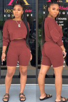 Wine Red Polyester Fashion Street Patchwork Solid Two Piece Suits Straight Long Sleeve Two Pieces