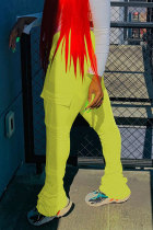 Yellow Black Green Pink Orange Yellow Fluorescent green Polyester Drawstring Sleeveless Mid Patchwork Solid Pocket Draped Boot Cut Pants Bottoms
