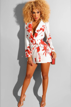 White Polyester Street Shirt sleeves Long Sleeves Notched A-Line skirt Print