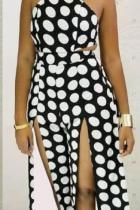 Black and white Casual Fashion Polka Dot bandage Asymmetrical Split Polyester Sleeveless Slip  Jumpsuits