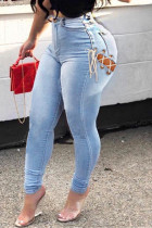 Light Blue Fashion Sexy Solid Hollowed Out High Waist Jeans