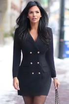 Black Polyester Fashion adult Casual Cap Sleeve Long Sleeves Notched Step Skirt Mini fastener Pocket Patch