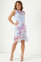 Light Blue Fashion Sexy Tank Sleeveless O neck A-Line Knee-Length Patchwork Print  Club Dresses