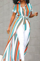 Orange Polyester Fashion Sexy Cap Sleeve Short Sleeves Turndown Collar Asymmetrical Patchwork Striped Ombre