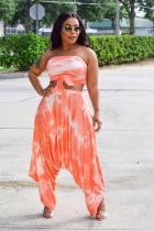 Orange Polyester Sexy Fashion crop top Slim fit Two Piece Suits asymmetrical Tie Dye Regular Sleeveless  Tw