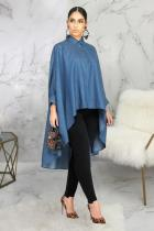 Blue Polyester Fashion adult Sexy Cap Sleeve Long Sleeves Mandarin Collar Swagger Mid-Calf Solid Patchwor