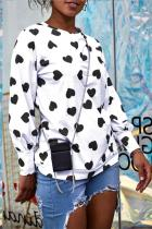 Black Polyester O Neck Long Sleeve Patchwork Print  Tees & T-shirts