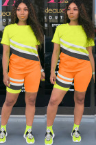 Orange Polyester Fashion Active Patchwork Print Two Piece Suits pencil Short Sleeve Two Pieces