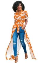 Orange Fashion O-Neck Regular Short Print Long Blouses & Shirts