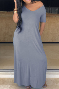 Grey Polyester Fashion Casual Red Grey Blue Green Cap Sleeve Short Sleeves V Neck Swagger Floor-Length Solid Dresses