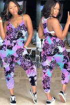 purple Fashion Casual Print Polyester Sleeveless V Neck Jumpsuits