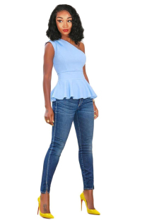 Light Blue Polyester One Shoulder Collar Sleeveless asymmetrical Solid Draped Slim fit  Vests & Waistcoats