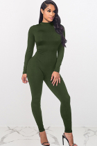 Army Green street Solid Polyester Long Sleeve Slip