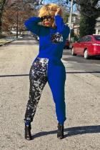 Blue Polyester Fashion Casual adult Solid Sequin Patchwork Two Piece Suits Straight Long Sleeve  Two-piec