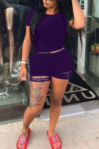 purple Polyester Fashion Casual adult Patchwork Solid Hole Burn-out pencil Short Sleeve Two Pieces