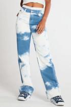Blue White Fashion Casual Print Basic High Waist Straight Jeans