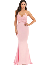 Pink Polyester Sexy Spaghetti Strap Sleeveless Slip Step Skirt Floor-Length lace Solid  Club Dresses