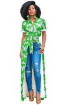 Green Fashion O-Neck Regular Short Print Long Blouses & Shirts