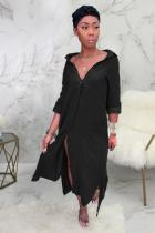 Black Fashion Cap Sleeve Long Sleeves Cardigan Turndown Collar Swagger Mid-Calf Solid fastener s
