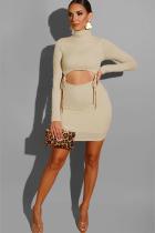 Apricot Polyester Casual Cap Sleeve Long Sleeves Turtleneck Step Skirt Knee-Length Solid  Long Sleeve Dresse