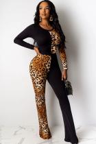 Brown Light Leopard grain Patchwork Chlorine Long Sleeve O Neck